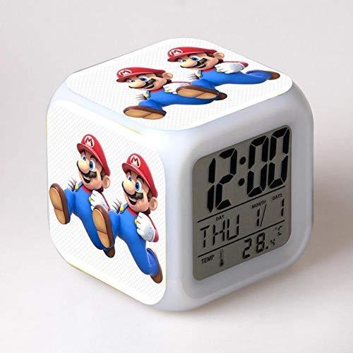 W-JIUJIA Super Mario Watchs 3D Dibujos Animados Super Mario Bros Alarma de Relojes, Juego 3D Super Mario Relojes de Alarma para niños Regalo Color Cambio de Relojes Multifunción