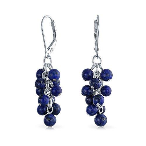 Edelstein Blau Lapis Lazuli Grape Der Haufen Perlen Ohrringe Leverback Baumeln Für Damen 925 Sterling Silber