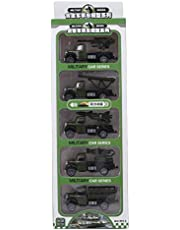 YOUTHINK 5Pcs Aleación de Alta Simulación Pull-Back Truck Vehículo Modelo de Vehículo de Juguete Regalo Diecast Vehículos de Juguete Militar para Niños Kid (5Pcs Modelo de Automóvil Militar)(5Pcs)