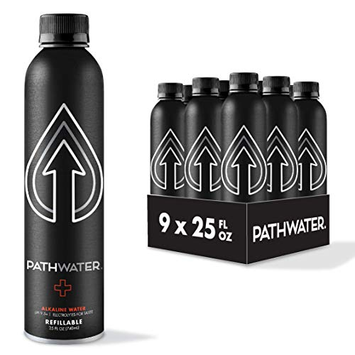 PATH Purified 9.5+ pH Alkaline Bottled Drinking Water in Eco-Friendly BPA-Free Bottle, Lightweight Aluminium Reusable Packaged Bottled Water 25 Fl Oz (Pack of 9)