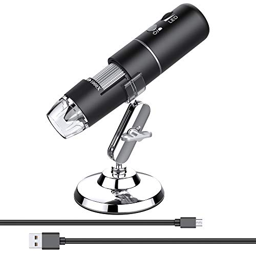 1080P Handheld Pocket Digital Microscope HD Inspection Camera with 8 LED Lights, 50x-1000x Magnification Compatible with Samsung, iPhone, iPad, Mac, Computer