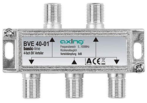 Axing BVE 40-01 4-Fach BK-Verteiler (5-1000 MHz) für Kabelfernsehen und DVB-T2 HD, F-Anschlüsse