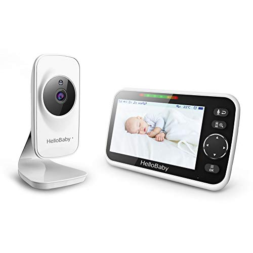HelloBaby 5'' Video Baby Monitor with Color LCD Screen, Infrared Night Vision Camera, Temperature Display, Lullaby, Two Way Audio and VOX Mode, HB50