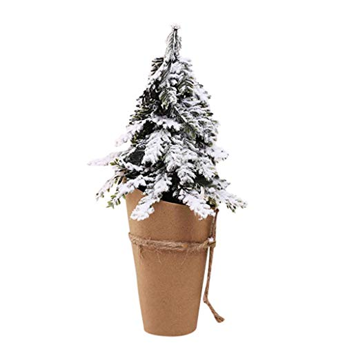 Fine Artificial Tabletop Mini Christmas Tree Decorations Festival Miniature Tree,Micro Landscape Architecture Trees for Christmas Crafts Tabletop Decor (A)