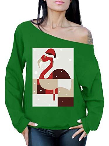 Awkward Styles Christmas Flamingo Off Shoulder Sweatshirt Xmas Flamingo Sweater Green 2XL