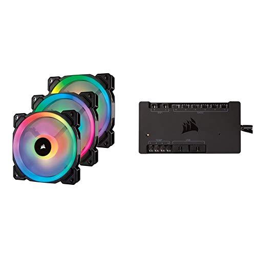Corsair LL120 RGB LED PWM PC-Gehäuselüfter (120mm Dual Licht Loop RGB LED, Dreierpack mit Lighting Node PRO & Commander PRO Digitaler Lüfter und RGB Beleuchtung-Controller schwarz) schwarz