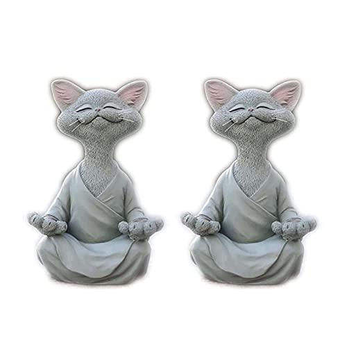 CHENAHNG Whimsical Happy Cat Buddha, 2021 Hot Meditating Cat Statue, Cat Buddha Meditation Yoga Cat Statue - For The Garden/Outdoor/Indoor, Meditation Decor, (Grey)