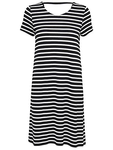 ONLY Damen kurzes Jersey-Kleid onlBera Lace Up schwarz (Schwarz/Weiß gestreift, x_s)