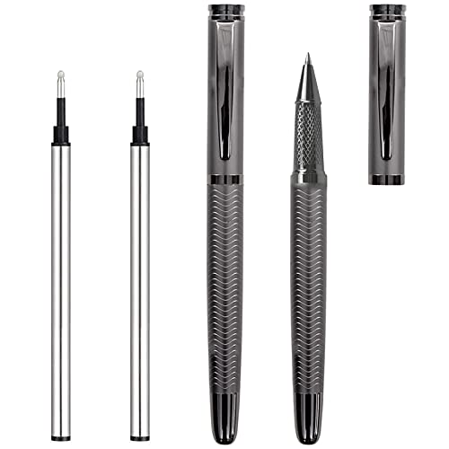 Gel Pens, Ranmov Black Pens Fine Point 0.5mm Smooth Writing Rolling Ball Business Metallic Fancy Nice Pens for Men Women, 2 Pack with 2 Refills