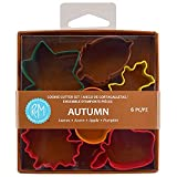 R&M International Mini Autumn Leaf Cookie Cutters, Apple, Pumpkin, Acorn, Oak, Ivy, Maple, 6-Piece Set
