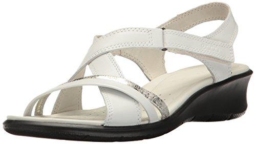 ECCO Damen Keilabsatz-Sandale, Weiß/Gravel, 42/42.5 EU