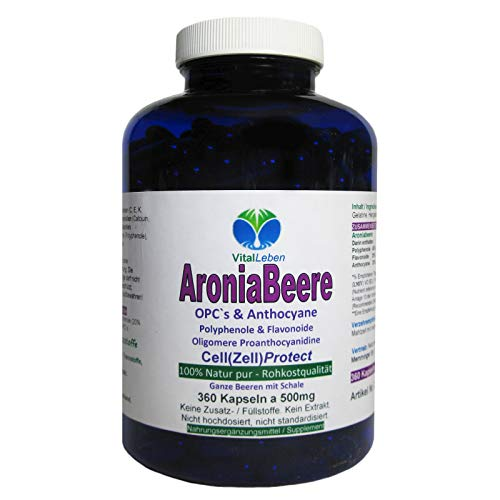 ARONIA Beeren OPC Cell(Zell) Protect - 360 Pulver Kapseln - Antioxidantien + Immunsystem + Abwehrkräfte - Polyphenole Anthocyane Flavonoide - NATUR PUR ohne ZUSATZSTOFFE - Deutschland. 26845-360
