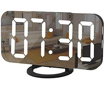 Digital Clock Large Display LED Alarm Electric Clocks Mirror Surface for Makeup with Diming Mode 3 Levels Brightness Dual USB Ports Modern Decoration for Home Bedroom Decor-Black