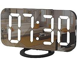 Digital Clock Large Display, LED Alarm Electric Clocks Mirror Surface for Makeup with Diming Mode, 3 Levels Brightness, Dual USB Ports Modern Decoration for Home Bedroom Decor-Black