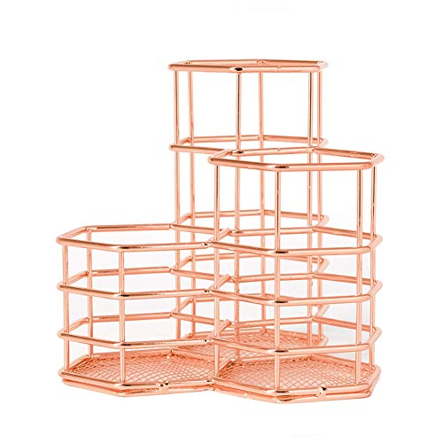 Pen Pencil Holder Rose Gold 3 Compartments Desk Organizer Makeup Brush Cup Holder