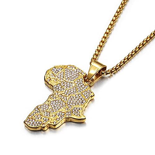 SWAOOS Hip Hop Iced out África África Mapa Colgante Collar para Mujeres Hombres Color Oro Cadenas de Acero Inoxidable Hiphop American Jewelry 50cm