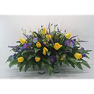 R39 3 Pieces Set Cemetery Flower Arrangement, Headstone Saddle, Grave, Tombstone Arrangement, Cemetery Flowers, One Saddle with 2 Matching vase Arrangements