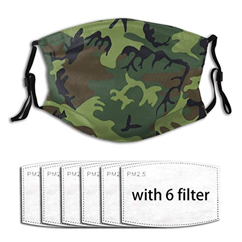 Camo and More - Covid 19 Coronavirus Camouflage Men Women Adjustable Earloop Face Mouth MAK Anti Pollution Washable Reusable with 6 Filters