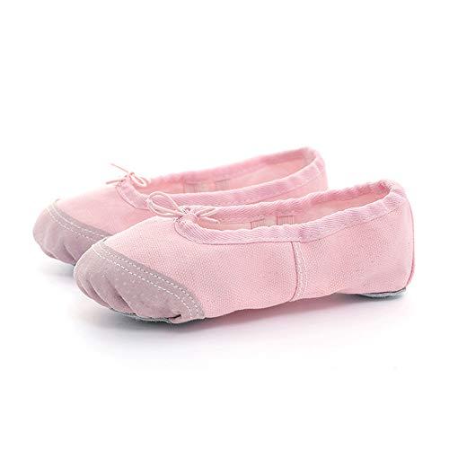 Pink Canvas Ballet Lyrical Dance Slipper Shoes Soft Split Sole Flat for Girls Women Dancing (3 UK)