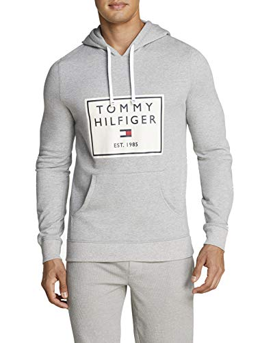 Tommy Hilfiger Herren Brushed Back Fleece Lounge Hoodie Pyjama-Oberteil (Top), Grey Heather/das Logo, Large