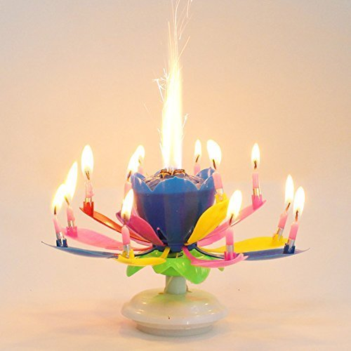 OUYAWEI Best Magic Musical Happy Birthday Candles (Rainbow)