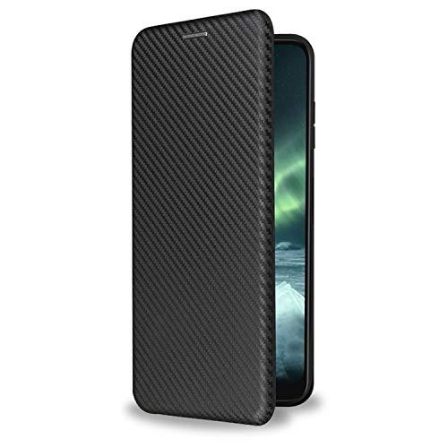 Olixar Schutzhülle für Nokia G10, Klapphülle aus Kohlefaser, mit Kartenhalter & Ständer, kompatibel mit Nokia G10 & G20, Schwarz