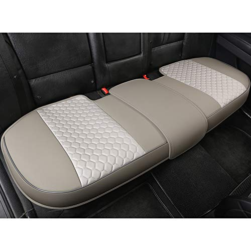 Black Panther Luxury PU Leather Rear Car Seat Cover Adjustable Length (49-55'') Back Seat Protector Fits 90% Vehicles (Sedan SUV Truck), for Seat Bottom Only,Honeycomb Pattern, Mixed Silver