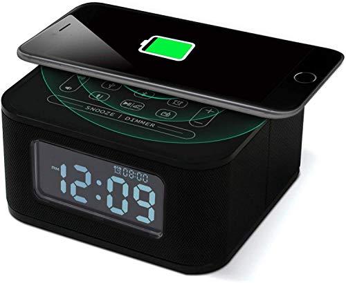 NANYUN Radio FM despertador, reloj digital con cargador de