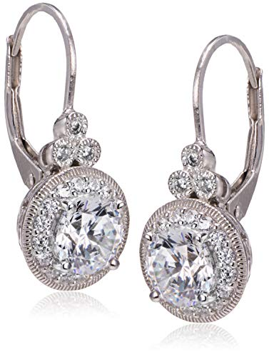 Platinum Plated Sterling Silver Antique Drop Earrings set with Round Cut Swarovski Zirconia (3.5 cttw)
