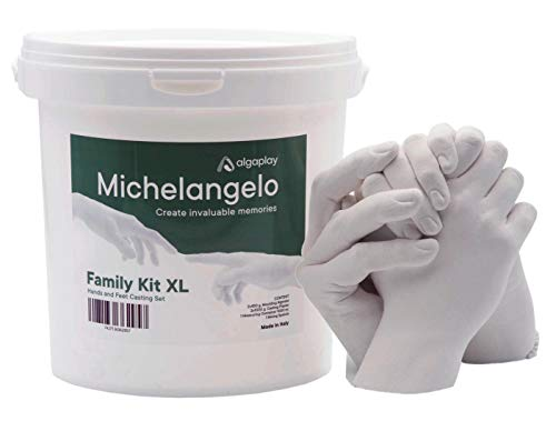 Michelangelo KIT per calco mani 3D in gesso per coppie, famiglia o amici. In omaggio caraffa graduata da 1 litro e spatola per miscelare. (KIT XL)