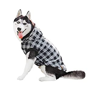 PAWZ Road Dog Plaid Shirt Coat Hoodie Pet Winter Clothes Warm and Soft for Medium and Large Dogs,Upgrade Version Gray 4XL