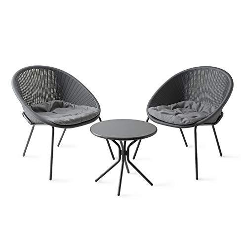 ラタンバルコニー 3点セット グレー/ガーデンファニチャーセット ガーデンテーブル チェアー 屋外家具
