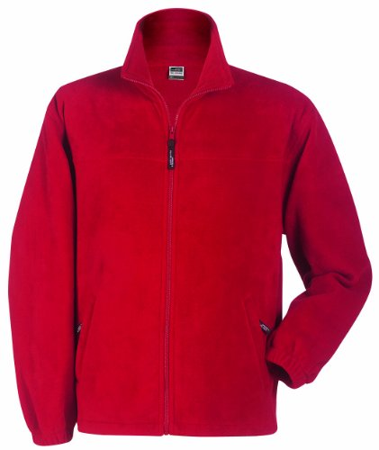 James & Nicholson Herren Full-Zip-Fleece Jacke, Rot (rot), Large