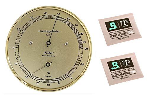 Lifestyle-Ambiente Fischer Haar-Hygrometer mit Thermometer messingfarben Made in Germany und 2 STK Calibration Kits