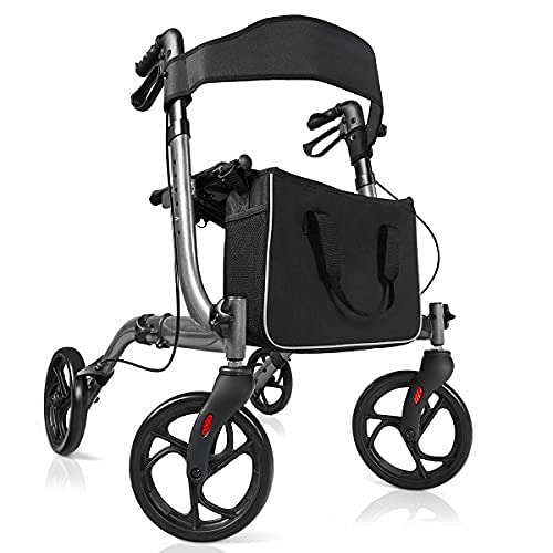 GYMAX Aluminum Walker, Foldable Four Wheels Medical Rollator with Seat &...