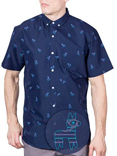 Visive Hawaiian Shirt Short Sleeve Button Down Up Shirts for Mens Navy Pony,Large