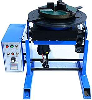 Hanchen 30KG Heavy Duty Welding Positioner 0-100º Turntable Time Control Positioning Machine for Welding Pipe Workpiece Rotary Welding Equipment with 200mm Chuck