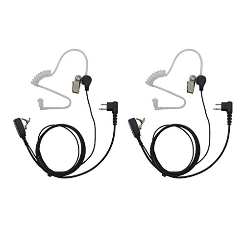 GoodQbuy 2 Pin PTT Mic Covert Acoustic Tube Earpiece Headset is Compatible with Motorola Two-Way Radio RMM2050 GP300 CP200 PR400 CLS1110 (Pack of 2)