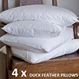 4 Pack Duck Feather Pillows -Hotel Quality ROMA Br
