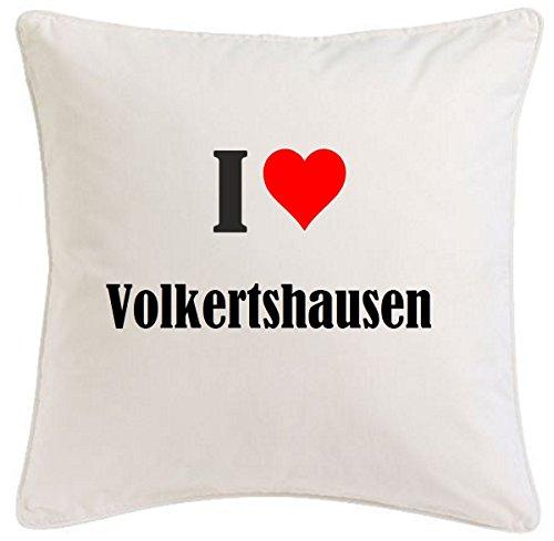 Kissenbezug I Love Volkertshausen 40cmx40cm aus Mikrofaser geschmackvolle Dekoration für jedes Wohnzimmer oder Schlafzimmer in Weiß mit Reißverschluss