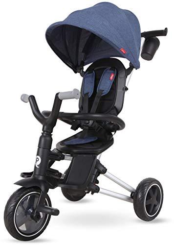 QPLAY Kinder-Dreirad Nova 8,5 / 7,5 Zoll Blau | Eva-Luftreifen Schiebestange UV-Dach Freilauf Klappbar Alter 10-36 Monate