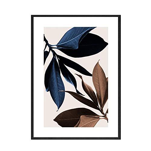 Planta nórdica azul abstracto mujer simple planta pintura cartel imagen pared hogar sin marco lienzo decorativo pintura A 30x40 cm