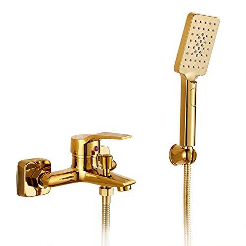 Badewannenarmatur Mit 3 Funktionen Handbrause - Wannenarmatur, Inkl Brausehalter Und 1,5M Duschschlauch, Golden Badewanne Wasserhahn - Dusche Set, Einhand-Wannenbatterie, Messing, Moderner Stil