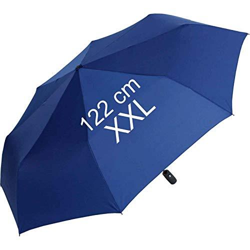 XXL Taschenschirm für Damen und Herren - Full Class- 122cm großes Dach mit Auf-Zu-Automatik - blau