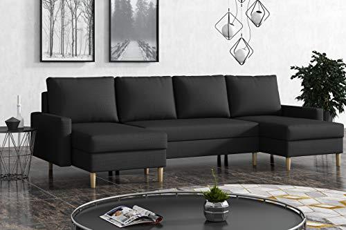 La Petite Maison - Divano angolare convertibile, 290 x 72 x 140 cm, 2 cassapanche, colore: Grigio antracite