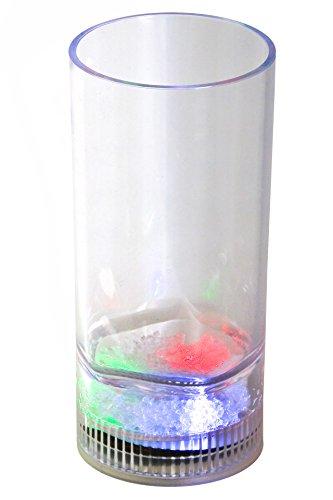 LED-Highlights Led Glas Becher Longdrinkglas 350 ml Led bunt oder blinkend Batterie wechselbar Bar Kunststoff Trinkglas beleuchtet Cocktailglas Leuchtglas