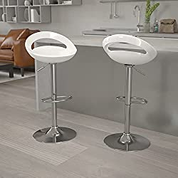 Flash Furniture 2-Pack Contemporary White Plastic Adjustable Height Bar Stool with Chrome Base