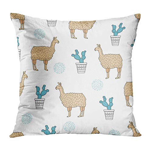 phjyjyeu Throw Pillow Cover Cute Llama Lamas And Cactus Pattern Peru Home Decor Square Cushion Pillowcase (Two Sides) 18' X 18'(IN)