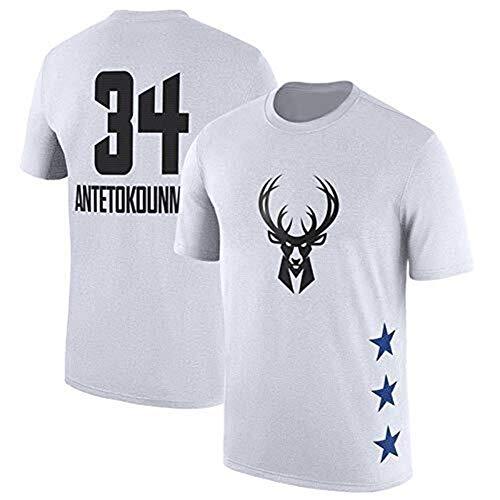 LLSDLS Camiseta de la NBA All-Star Milwaukee Bucks Giannis Antetokounmpo Camiseta con Estampado de Letras Jersey (S-3XL) Camiseta (Color : White#34, Size : M)