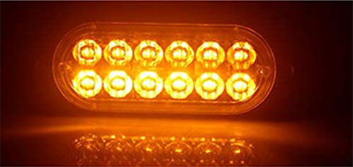 ZJYX 12V-24V,36W 12 LED Warnlichter hoher Intensität Warnleuchte Notfall Warnblitzleuchte Strobe mit 18 Muster,Mit Power-Off-Memory-Funktion FüRfür PKW, LKW, Motorräder, Traktoren,Gelb